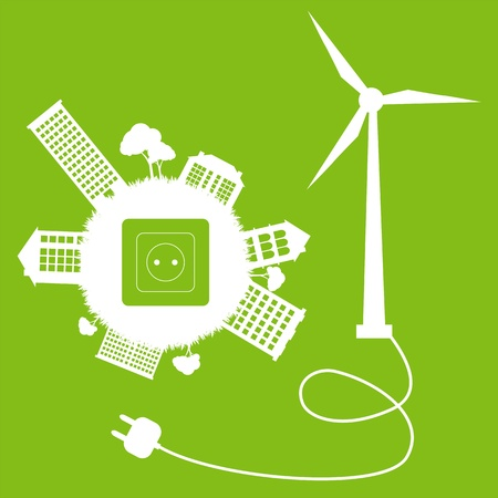 Green ecology energy planet vector concept with socket, plug and wind generator for poster Illustration