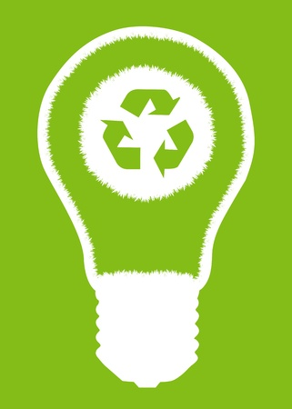 compact fluorescent lightbulb: Green grass light bulb and recycle round inside. Recycling concept vector background poster