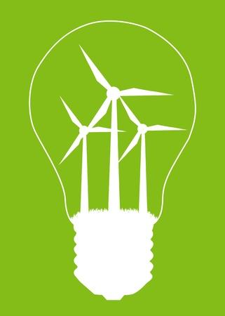 windfarm: Lampadina e mulino generatore eolico all'interno. Energie alternative concetto di vettore manifesto sfondo Vettoriali
