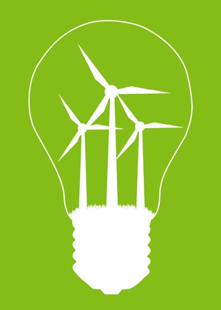 windpower: Light bulb and wind mill generator inside. Alternative energy concept vector background poster