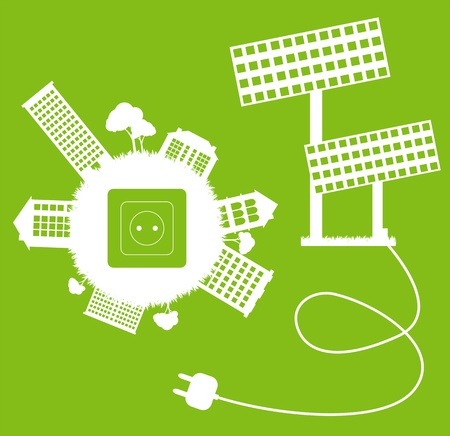 solar cells: Green ecology energy planet vector concept with socket, plug and solar panels for poster Illustration