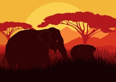 kenya: Elephant family silhouettes in wild nature mountain landscape background illustration vector Illustration