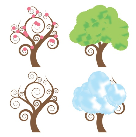 Four seasons - spring, summer, autumn, winter vector tree set background Vector