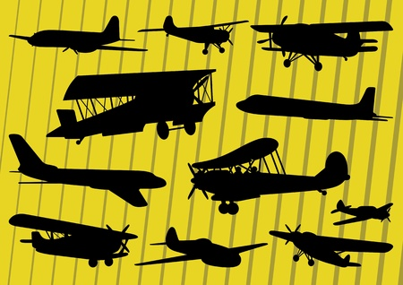 vintage airplane: Airplanes illustration collection background vector