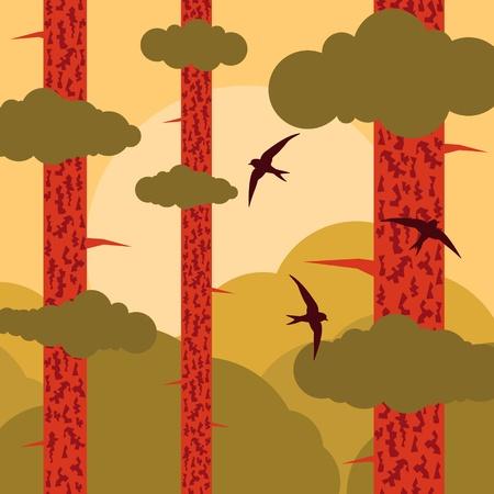 Pine tree forest landscape background illustration Stock Vector - 12045209