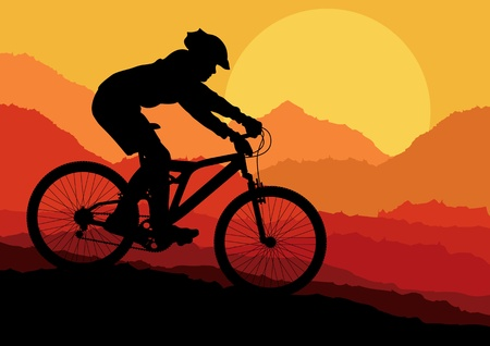 man hiking: Mountain bike rider in wild nature landscape background illustration vector