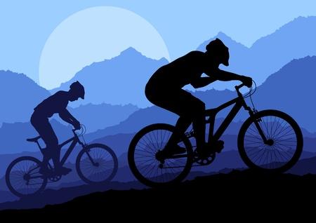 bicicleta vector: Montaña ciclista en el vector natural del paisaje, naturaleza, ilustración de fondo