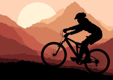 fahrradrennen: Mountain Bike Rider in wilder Natur, Landschaft, Hintergrund, Illustration, Vektor Illustration