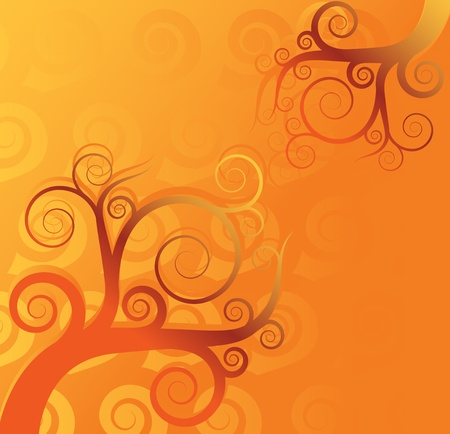 Abstract tree swirl vector background Vector