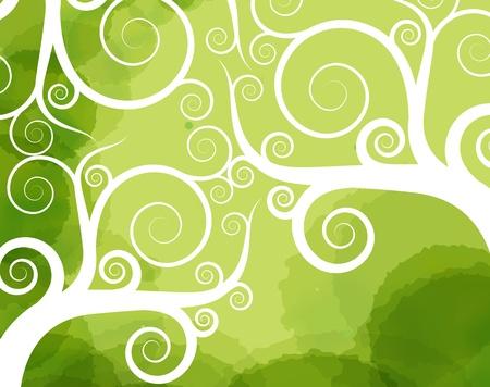 Abstract tree swirl vector background Stock Vector - 12045294