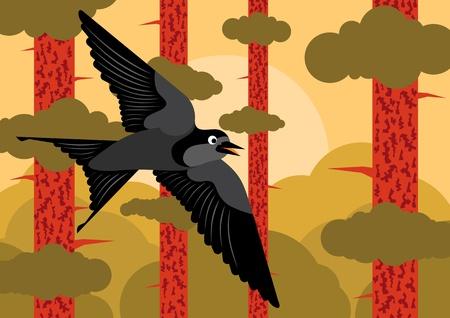 rut: Pine tree forest landscape background illustration Illustration