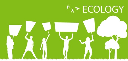 Green people protest, picket against pollution. Ecology world concept vector. Vector