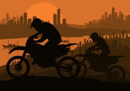 Motorbike rider in skyscraper city landscape background illustration Stock Vector - 12045377
