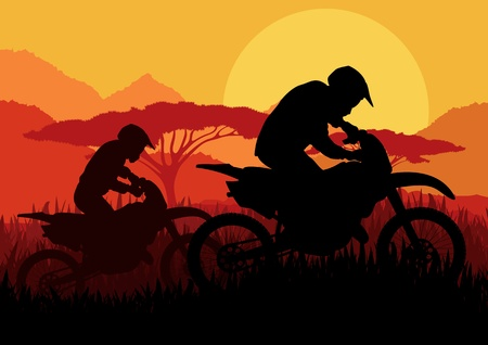 Motorbike rider in wild nature landscape background illustration Vector