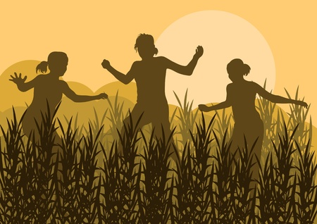 Jumping children silhouettes in wild nature field landscape background illustration vector Vector