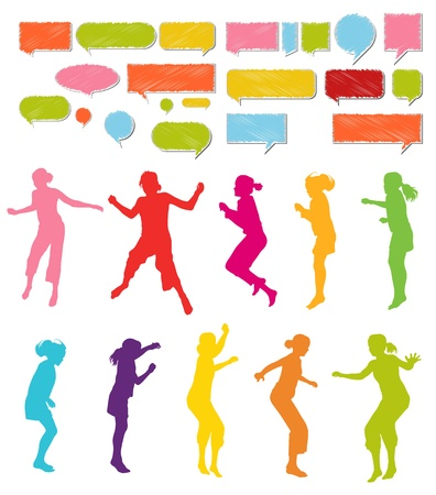children party: Girls, kids jumping vector silhouette set background