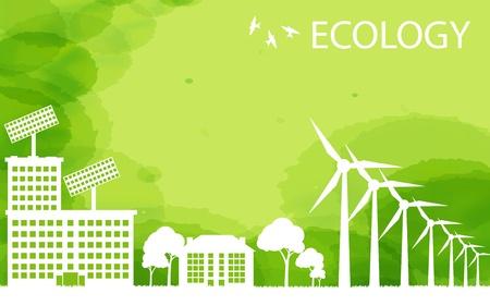 energy conservation: Wind alternative energy generator green vector background