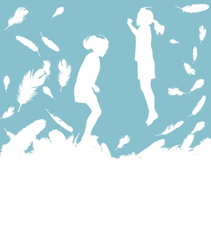 Kid jumping in feathers vector background with copy space for text