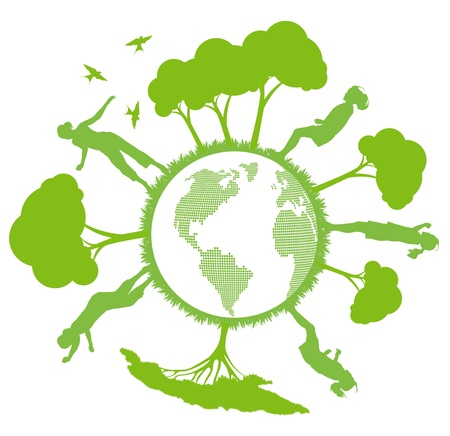 Green ecology planet vector background with trees around globe Stock Vector - 12045289