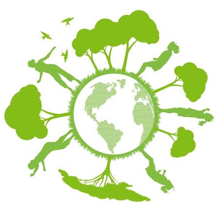 estrella de la vida: Planeta verde ecología del vector de fondo con árboles alrededor del globo