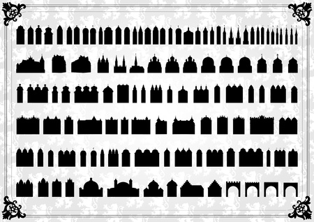 Vintage old city buildings, churches, towers, castles and gates illustration collection background vector Illustration