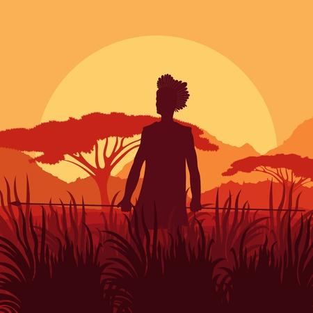 Native African hunter in wild nature landscape background illustration vector Vector