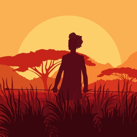 morning rituals: Native African hunter in wild nature landscape background illustration vector