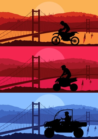 All terrain vehicle motorbike riders in Arabic city bridge landscape background illustration vector Vector