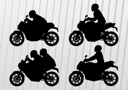 adrenalina: Pilotos de motos deportivas en siluetas vector urbano paisaje de la ciudad ilustraci�n de fondo Vectores