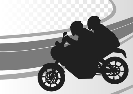 motorcycle helmet: Sport motorbike riders silhouettes in urban city landscape background illustration vector
