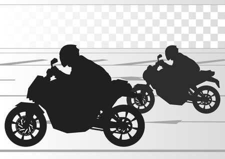 motorbike jumping: Sport motorbike riders silhouettes in urban city landscape background illustration vector
