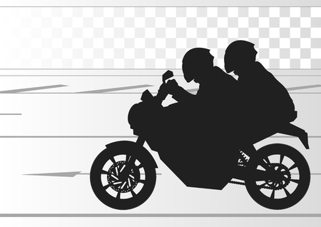 trail bike: Sport motorbike riders silhouettes in urban city landscape background illustration vector