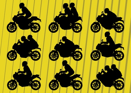 Sport motorbike riders silhouettes illustration collection background vector Stock Vector - 12045330