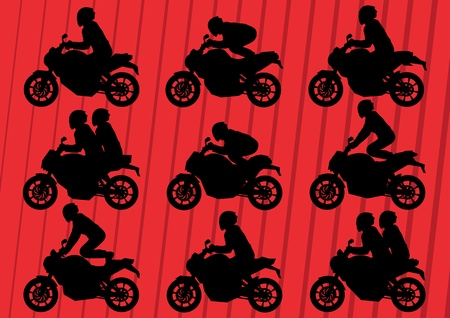 motorized sport: Sport motorbike riders silhouettes illustration collection background vector