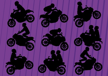 stunts: Sport motorbike riders silhouettes illustration collection background vector
