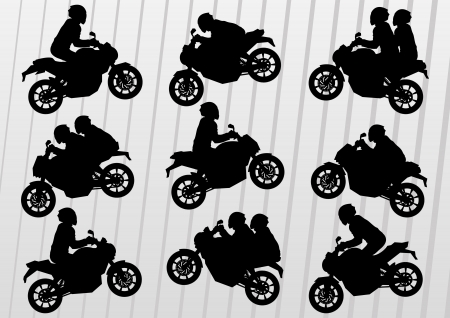 trail bike: Sport motorbike riders silhouettes illustration collection background vector