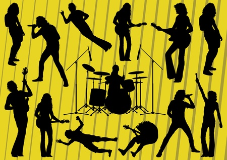 Rock musicians silhouettes illustration collection background vector Stock Vector - 12045394