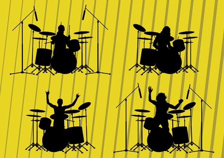 Rock musicians silhouettes illustration collection background vector