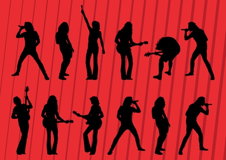 pop singer: Rock musicians silhouettes illustration collection background vector