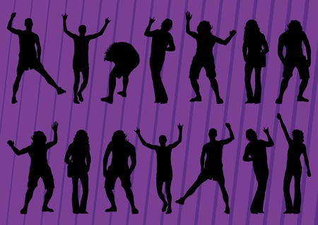 stage performer: Dancing crowd of people silhouettes illustration collection background vector
