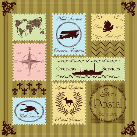 overseas: Vintage postage stamps illustration collection background vector