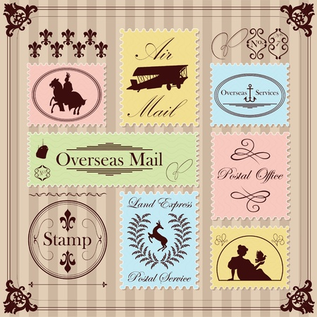 Vintage postage stamps illustration collection background vector Vector