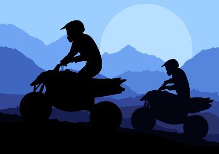 adrenalina: Todos los pilotos de quad todoterreno moto en vector silvestre paisaje, naturaleza, ilustraci�n de fondo Vectores