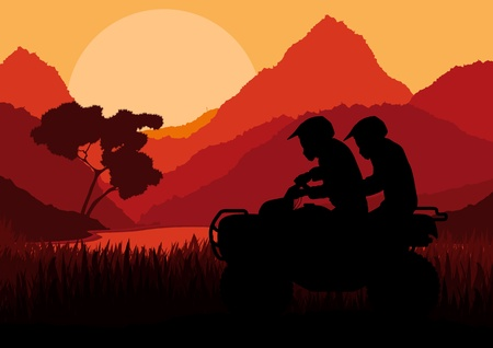 All terrain vehicle quad motorbike riders in wild nature landscape background illustration vector Vector