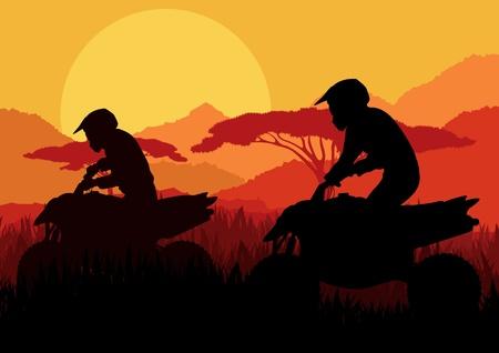 All terrain vehicle quad motorbike riders in wild nature landscape background illustration vector Stock Vector - 12045314