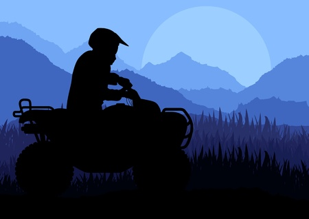 motor transport: All terrain vehicle quad motorbike riders in wild nature landscape background illustration vector Illustration