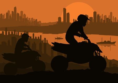 dirt road: All terrain vehicle motorbike riders in skyscraper city landscape background illustration vector