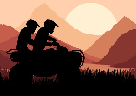 All terrain vehicle quad motorbike riders in wild nature landscape background illustration vector Vector