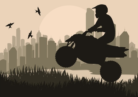 All terrain vehicle motorbike riders in skyscraper city landscape background illustration vector Vector