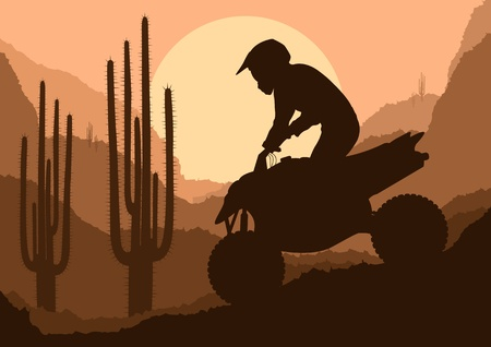 atv: All terrain vehicle quad motorbike rider in desert wild nature landscape background illustration vector